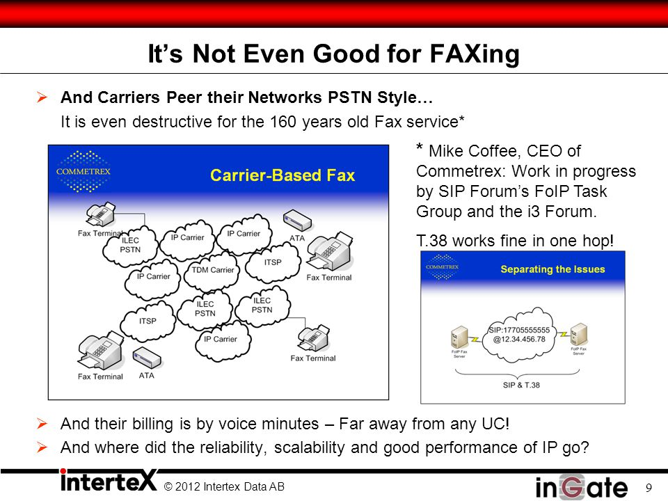 © 2012 Intertex Data AB 9 Its Not Even Good for FAXing And Carriers Peer their Networks PSTN Style… It is even destructive for the 160 years old Fax s