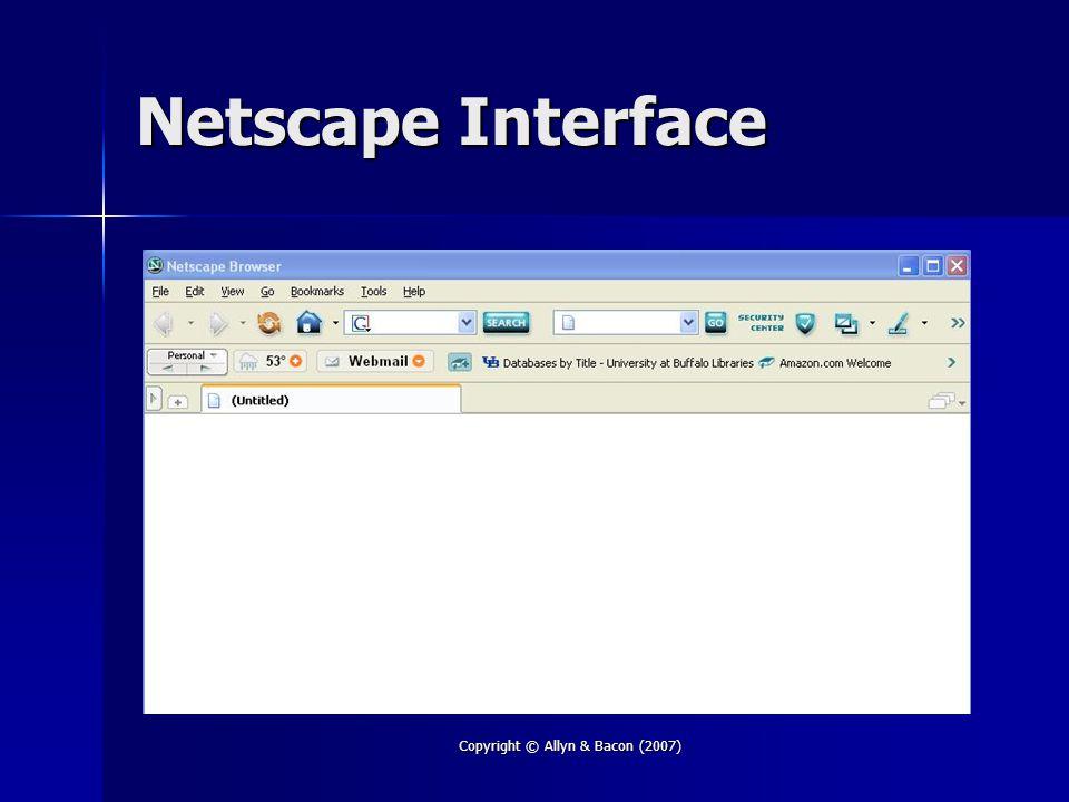 Copyright © Allyn & Bacon (2007) Netscape Interface