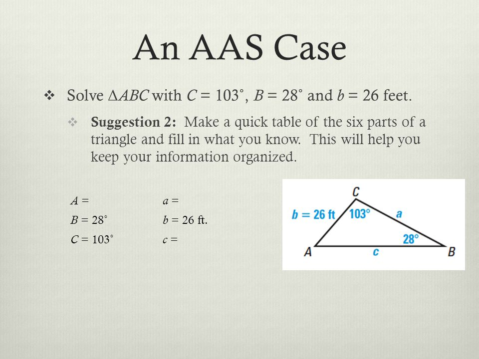 An AAS Case Solve Δ ABC with C = 103˚, B = 28˚ and b = 26 feet. Suggestion 2: Make a quick table of the six parts of a triangle and fill in what you k