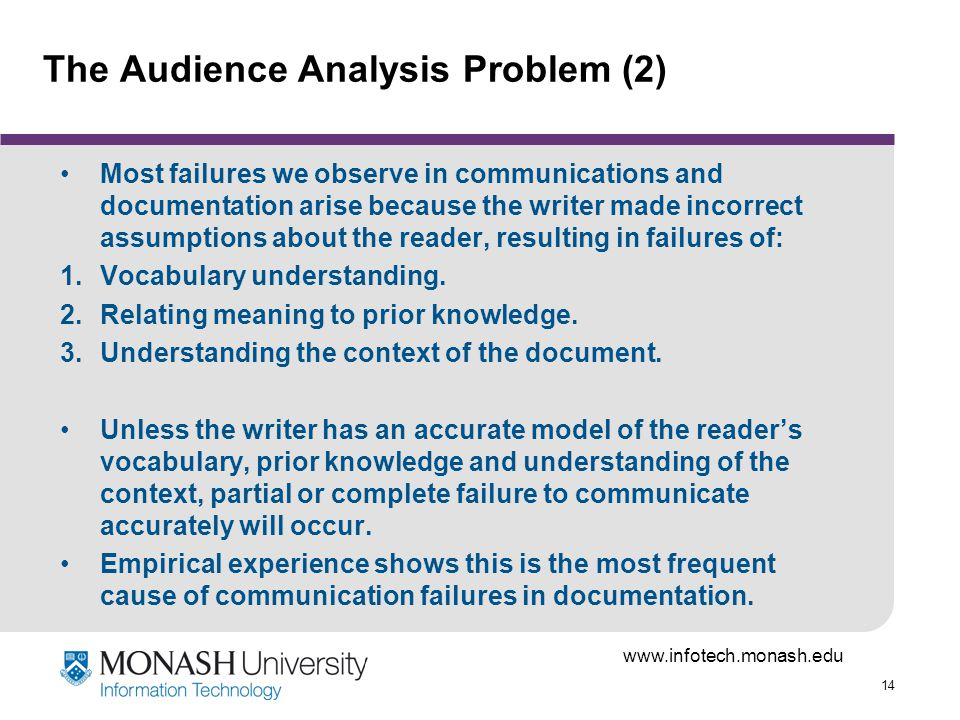 14 The Audience Analysis Problem (2) Most failures we observe in communications and documentation arise because the writer made incorrect assumptions about the reader, resulting in failures of: 1.Vocabulary understanding.