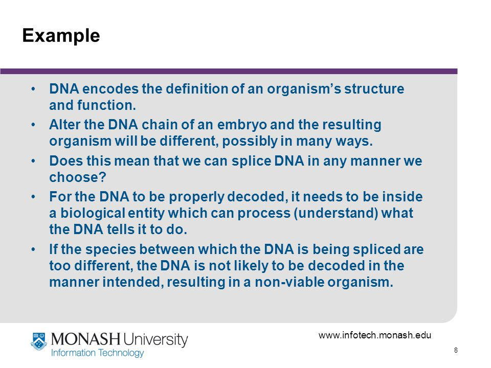 www.infotech.monash.edu 39 Example DNA encodes the definition of an organisms structure and function.