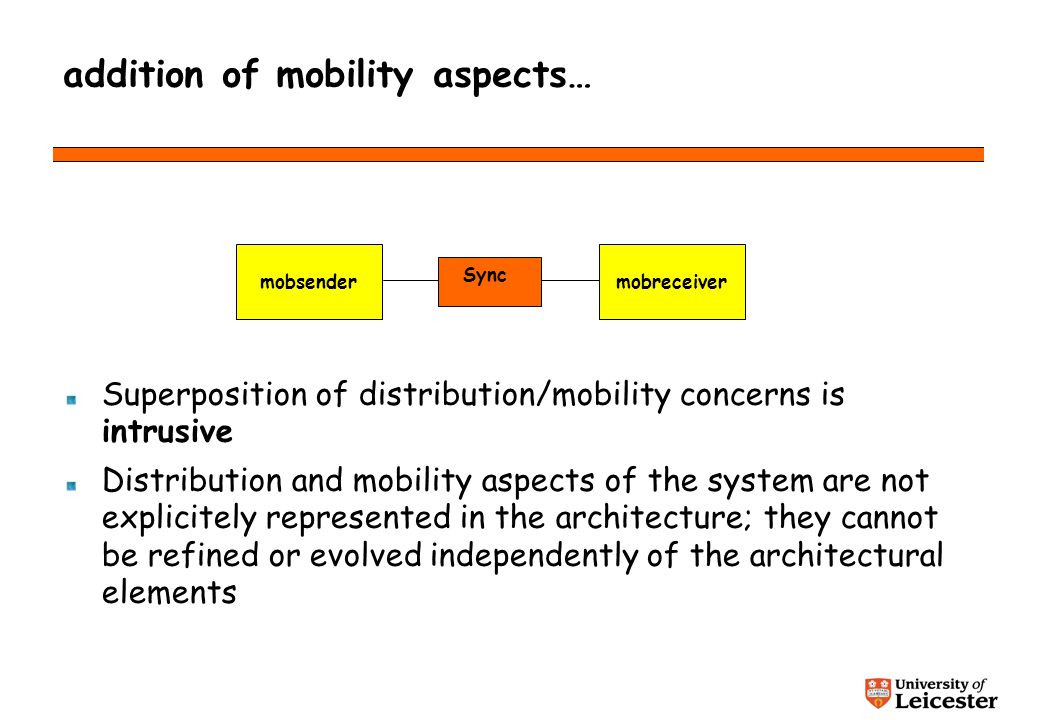 addition of mobility aspects… Superposition of distribution/mobility concerns is intrusive Distribution and mobility aspects of the system are not explicitely represented in the architecture; they cannot be refined or evolved independently of the architectural elements mobsender Sync mobreceiver