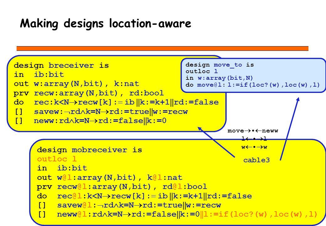 Making designs location-aware design mobreceiver is outloc l in ib:bit out w@l:array(N,bit), k@l:nat prv recw@l:array(N,bit), rd@l:bool do rec@l:k<N recw[k]: ib k:=k+1 rd:=false [] savew@l: rd k=N rd:=true w:=recw [] neww@l:rd k=N rd:=false k:=0 l:=if(loc (w),loc(w),l) design breceiver is in ib:bit out w:array(N,bit), k:nat prv recw:array(N,bit), rd:bool do rec:k<N recw[k]: ib k:=k+1 rd:=false [] savew: rd k=N rd:=true w:=recw [] neww:rd k=N rd:=false k:=0 design move_to is outloc l in w:array(bit,N) do move@l: l:=if(loc (w),loc(w),l) cable3 move neww l w