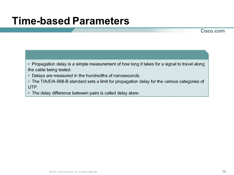 26 © 2004, Cisco Systems, Inc. All rights reserved. Time-based Parameters