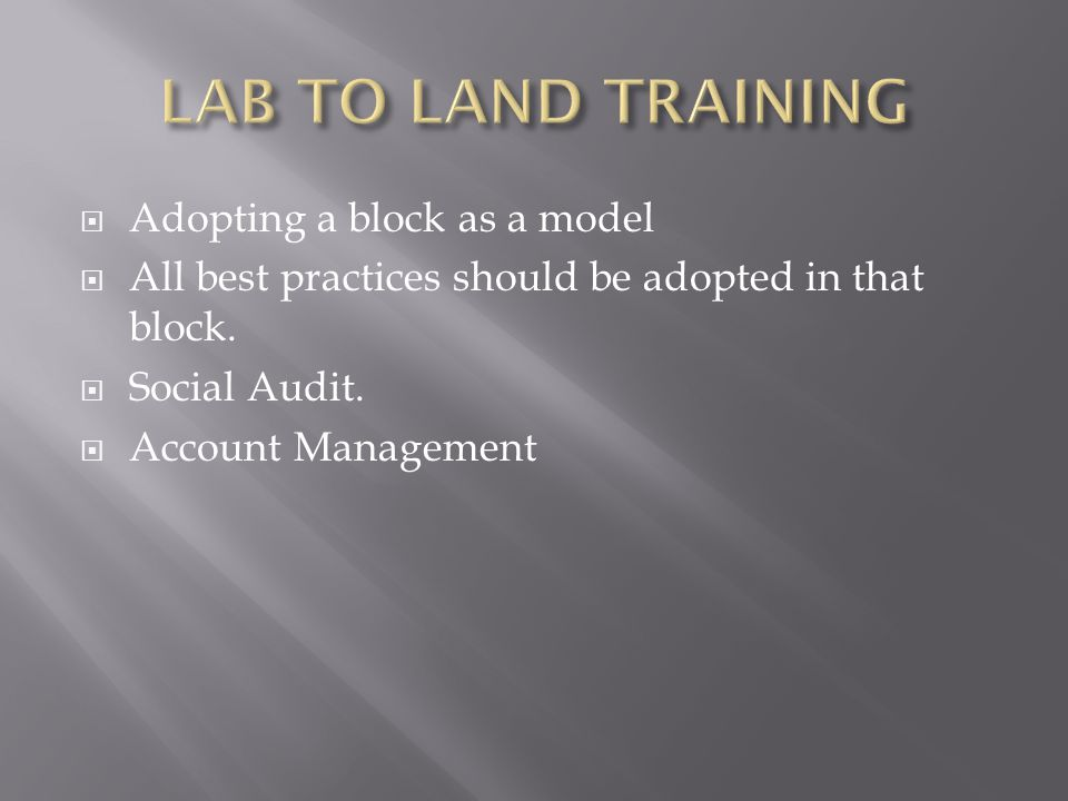 Adopting a block as a model All best practices should be adopted in that block. Social Audit. Account Management