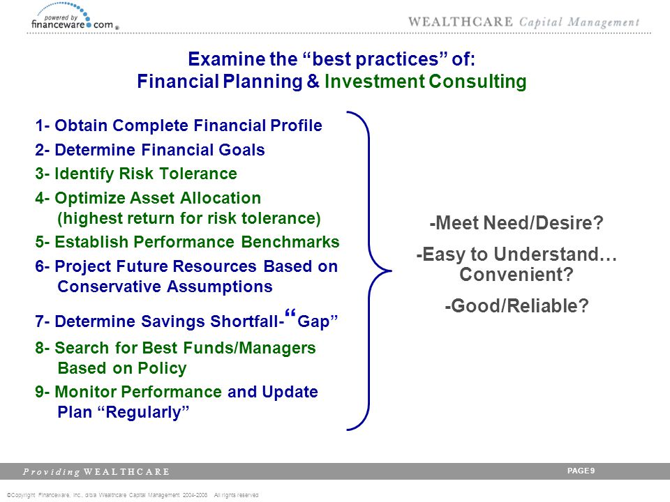 ©Copyright Financeware, Inc., d/b/a Wealthcare Capital Management 2004-2008 All rights reserved P r o v i d i n g W E A L T H C A R E PAGE 30 Current Best Practices Identify risk tolerance, optimize asset allocation, & do a financial plan...