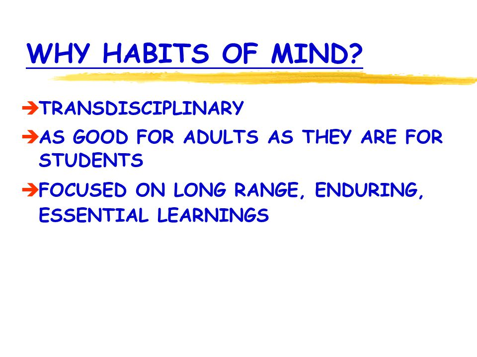 WHY HABITS OF MIND? TRANSDISCIPLINARY AS GOOD FOR ADULTS AS THEY ARE FOR STUDENTS FOCUSED ON LONG RANGE, ENDURING, ESSENTIAL LEARNINGS