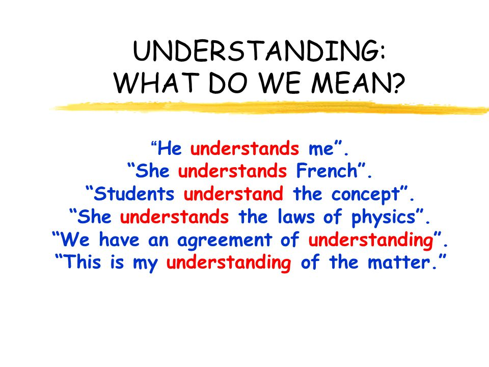UNDERSTANDING: WHAT DO WE MEAN? He understands me. She understands French. Students understand the concept. She understands the laws of physics. We ha
