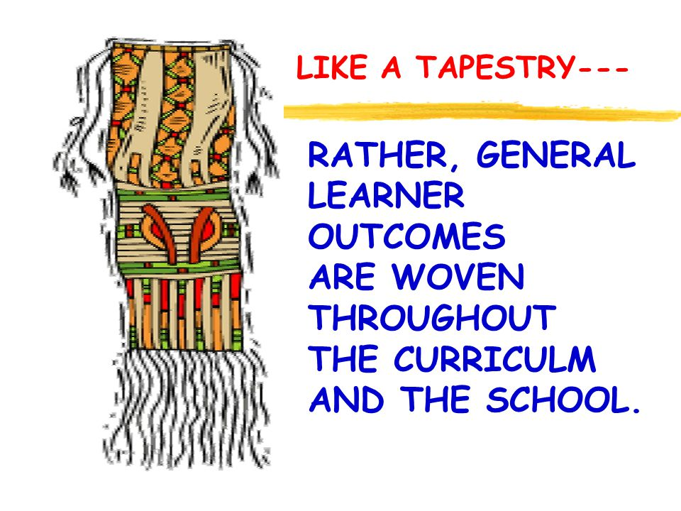 RATHER, GENERAL LEARNER OUTCOMES ARE WOVEN THROUGHOUT THE CURRICULM AND THE SCHOOL. LIKE A TAPESTRY---