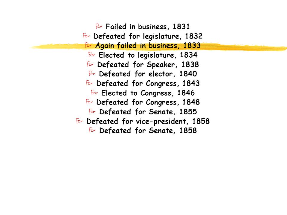 P Failed in business, 1831 P Defeated for legislature, 1832 P Again failed in business, 1833 P Elected to legislature, 1834 P Defeated for Speaker, 18