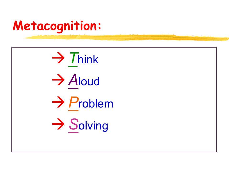 Metacognition: à T hink à A loud à P roblem à S olving
