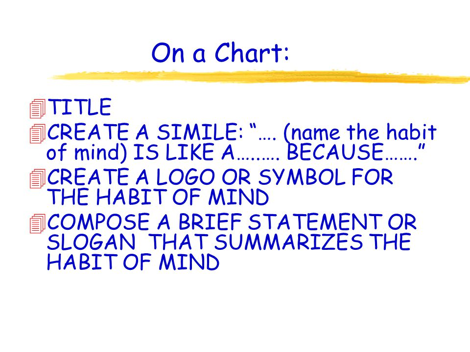 On a Chart: 4TITLE 4CREATE A SIMILE: …. (name the habit of mind) IS LIKE A…..…. BECAUSE……. 4CREATE A LOGO OR SYMBOL FOR THE HABIT OF MIND 4COMPOSE A B