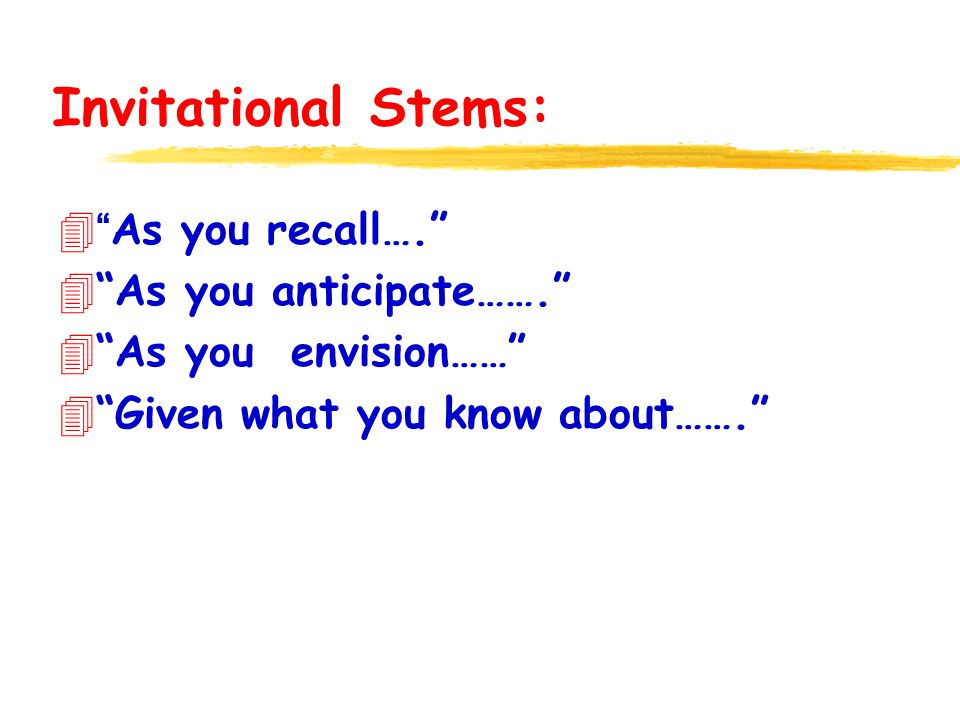 Invitational Stems: 4As you recall…. 4As you anticipate……. 4As you envision…… 4Given what you know about…….