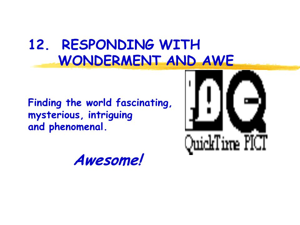 12. RESPONDING WITH WONDERMENT AND AWE Awesome! Finding the world fascinating, mysterious, intriguing and phenomenal.