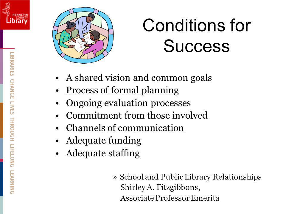 Conditions for Success A shared vision and common goals Process of formal planning Ongoing evaluation processes Commitment from those involved Channels of communication Adequate funding Adequate staffing »School and Public Library Relationships Shirley A.