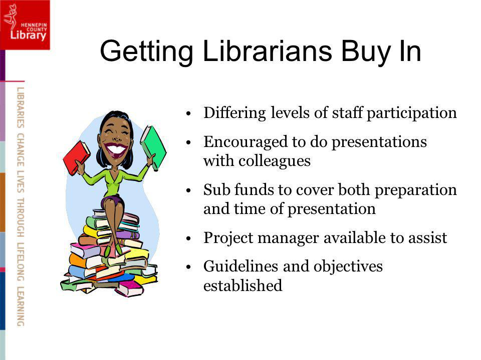Getting Librarians Buy In Differing levels of staff participation Encouraged to do presentations with colleagues Sub funds to cover both preparation and time of presentation Project manager available to assist Guidelines and objectives established