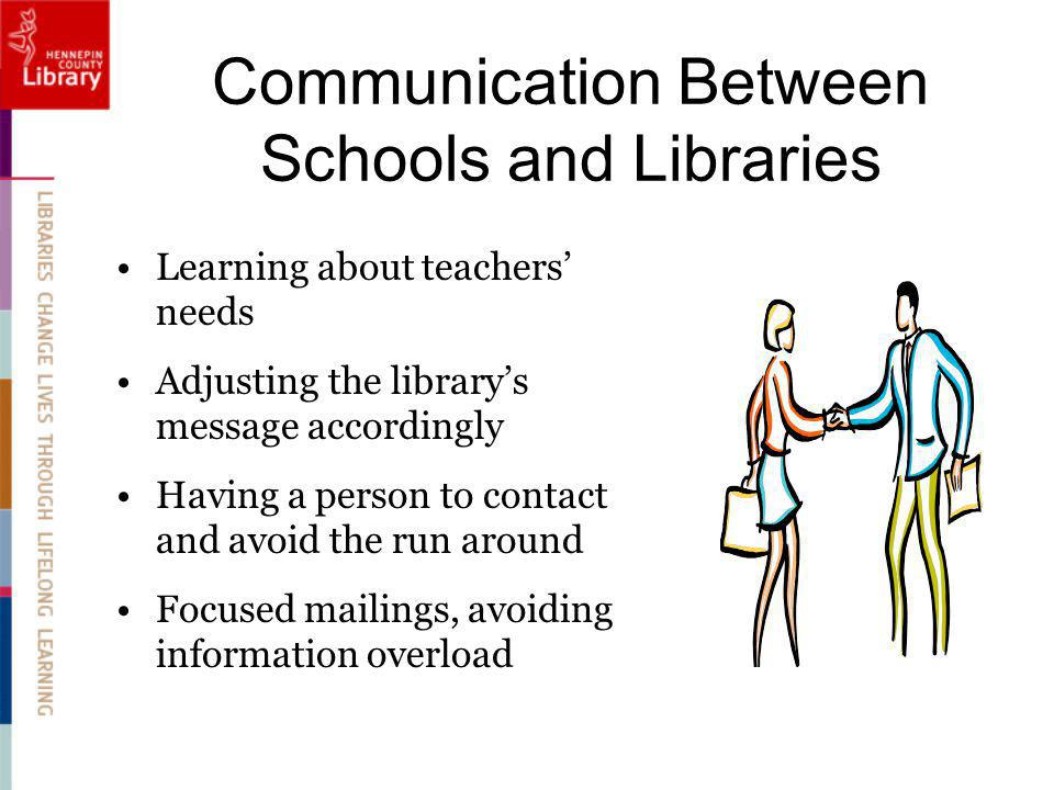 Communication Between Schools and Libraries Learning about teachers needs Adjusting the librarys message accordingly Having a person to contact and avoid the run around Focused mailings, avoiding information overload