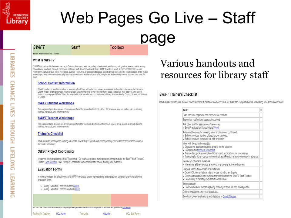 Web Pages Go Live – Staff page Various handouts and resources for library staff