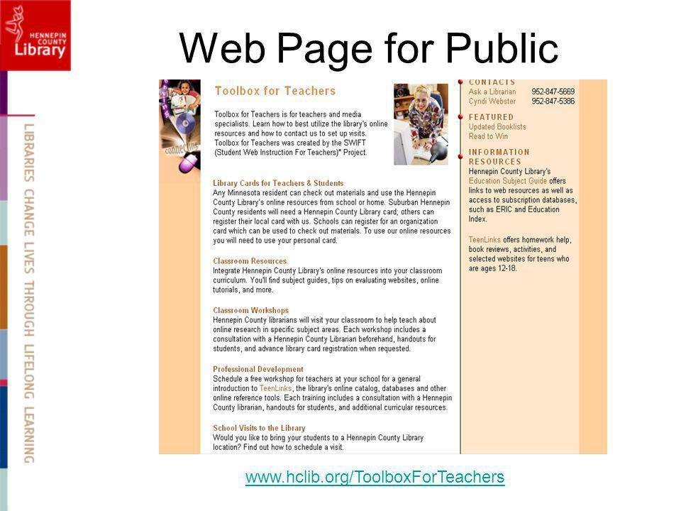 Web Page for Public www.hclib.org/ToolboxForTeachers
