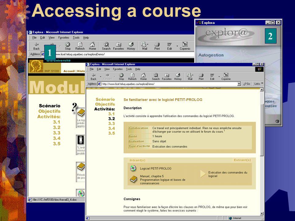 1 Accessing a course 2