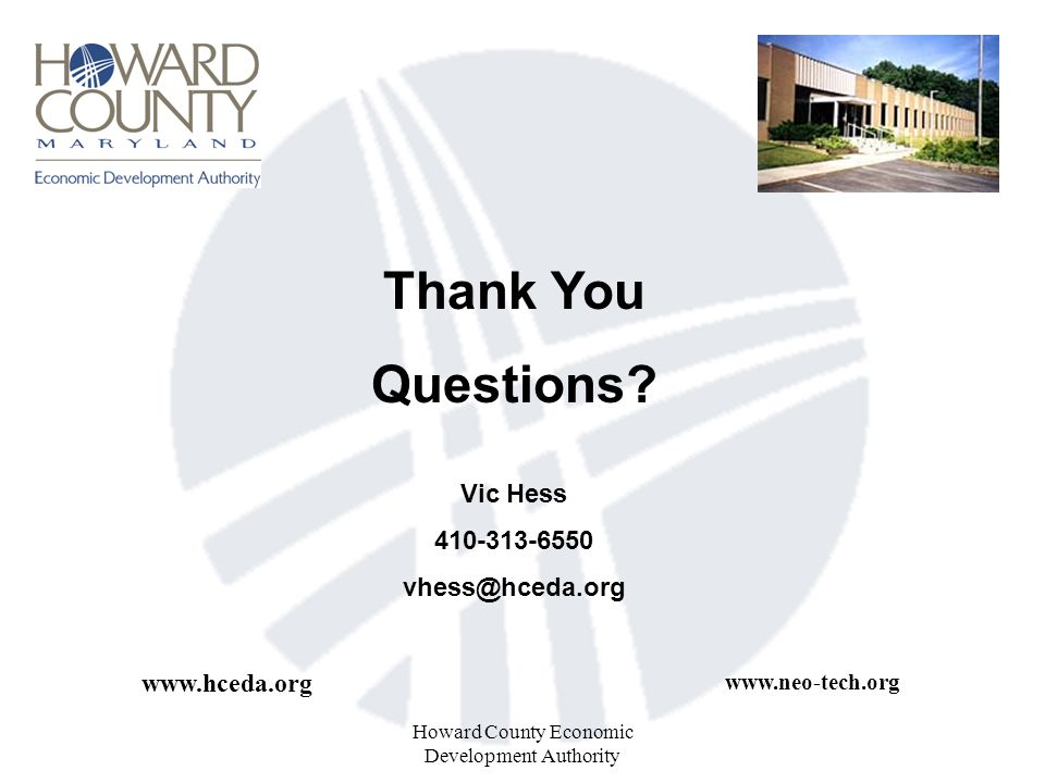 Howard County Economic Development Authority Thank You Questions.