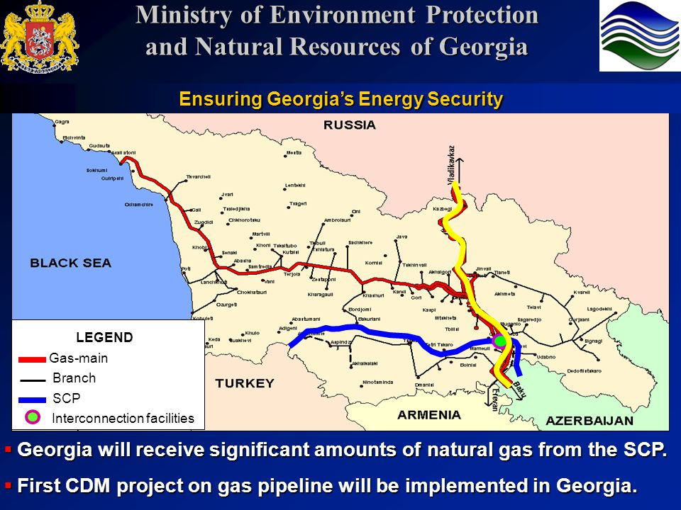 LEGEND Gas-main Branch Interconnection facilities SCP Georgia will receive significant amounts of natural gas from the SCP. Georgia will receive signi