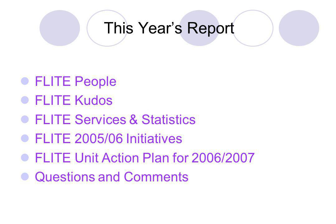 This Years Report FLITE People FLITE Kudos FLITE Services & Statistics FLITE 2005/06 Initiatives FLITE Unit Action Plan for 2006/2007 Questions and Comments