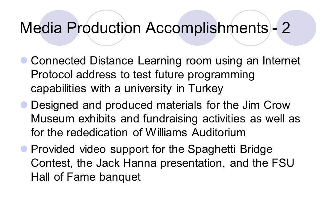 Media Production Accomplishments - 2 Connected Distance Learning room using an Internet Protocol address to test future programming capabilities with a university in Turkey Designed and produced materials for the Jim Crow Museum exhibits and fundraising activities as well as for the rededication of Williams Auditorium Provided video support for the Spaghetti Bridge Contest, the Jack Hanna presentation, and the FSU Hall of Fame banquet