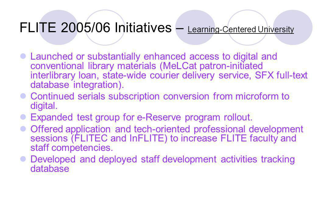 FLITE 2005/06 Initiatives – Learning-Centered University Launched or substantially enhanced access to digital and conventional library materials (MeLCat patron-initiated interlibrary loan, state-wide courier delivery service, SFX full-text database integration).