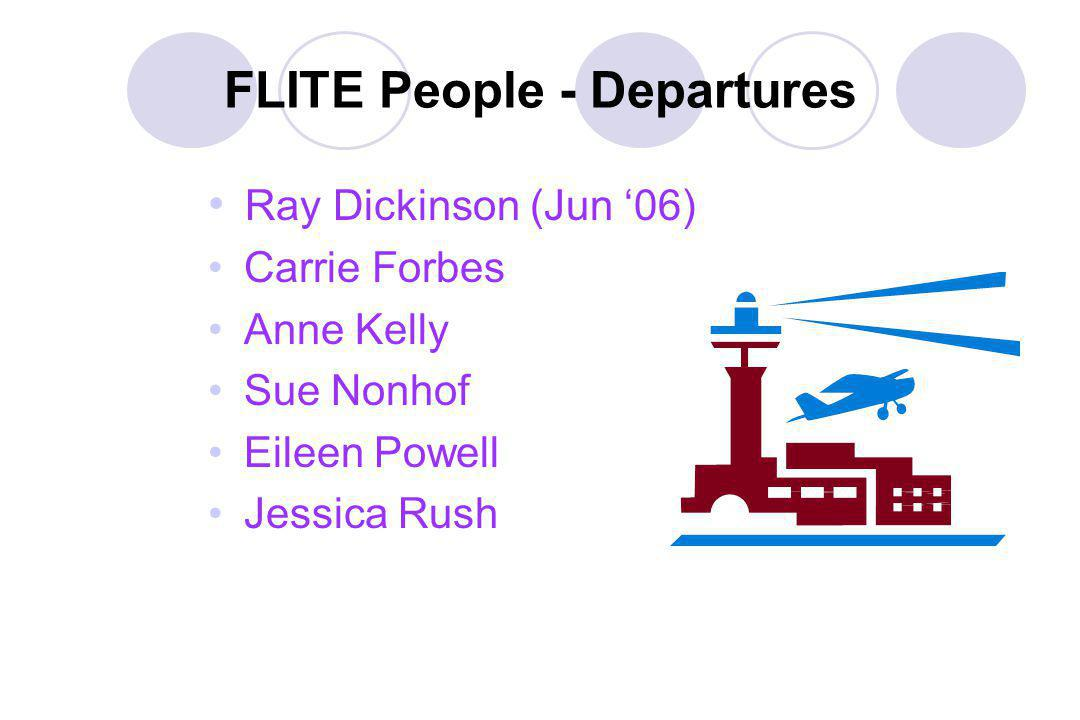 FLITE People - Departures Ray Dickinson (Jun 06) Carrie Forbes Anne Kelly Sue Nonhof Eileen Powell Jessica Rush