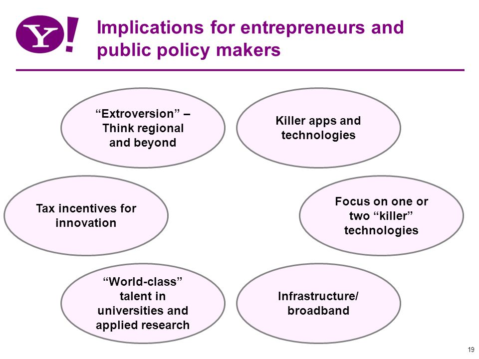 19 Implications for entrepreneurs and public policy makers Tax incentives for innovation World-class talent in universities and applied research Infrastructure/ broadband Focus on one or two killer technologies Extroversion – Think regional and beyond Killer apps and technologies