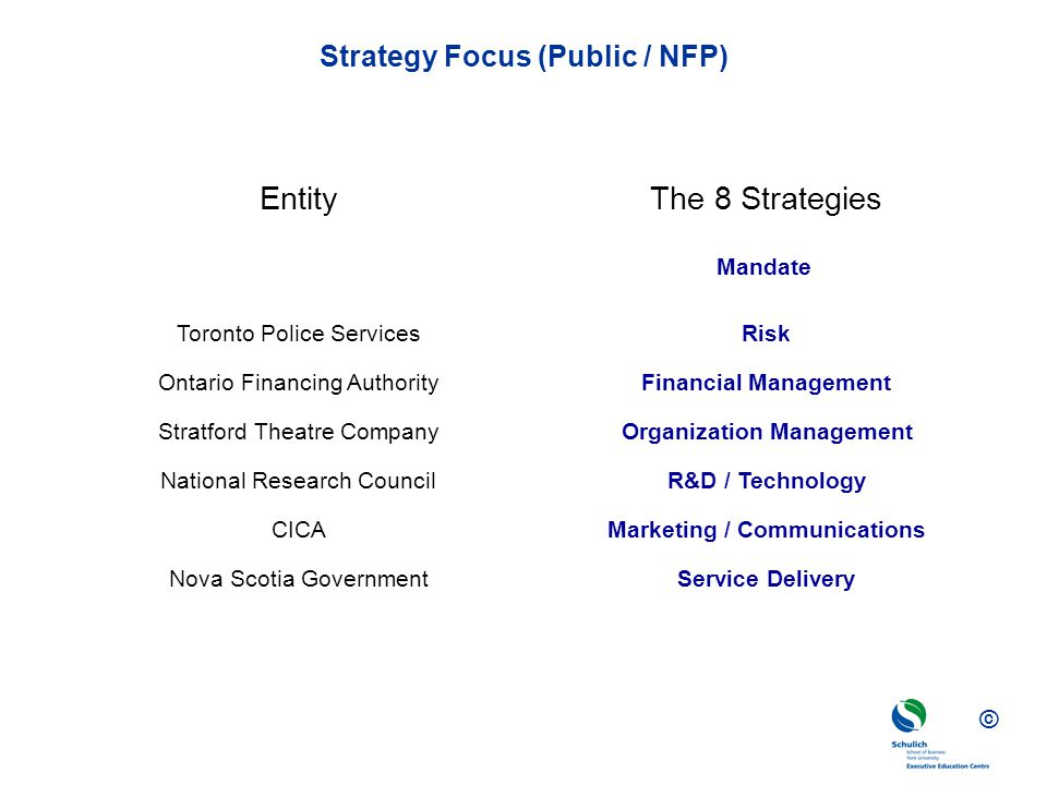 © Strategy Focus (Public / NFP) CICA Toronto Police Services Marketing / Communications Risk EntityThe 8 Strategies Nova Scotia GovernmentService Delivery Ontario Financing AuthorityFinancial Management National Research CouncilR&D / Technology Stratford Theatre CompanyOrganization Management Mandate