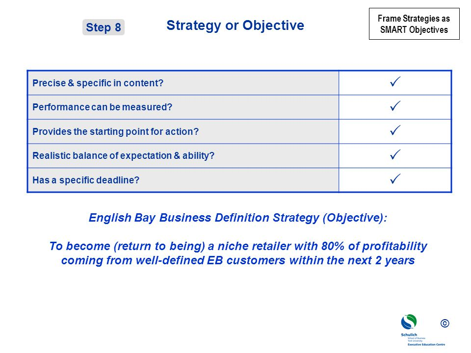 © Strategy or Objective Precise & specific in content.