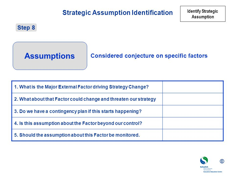 © Strategic Assumption Identification 1.What is the Major External Factor driving Strategy Change.