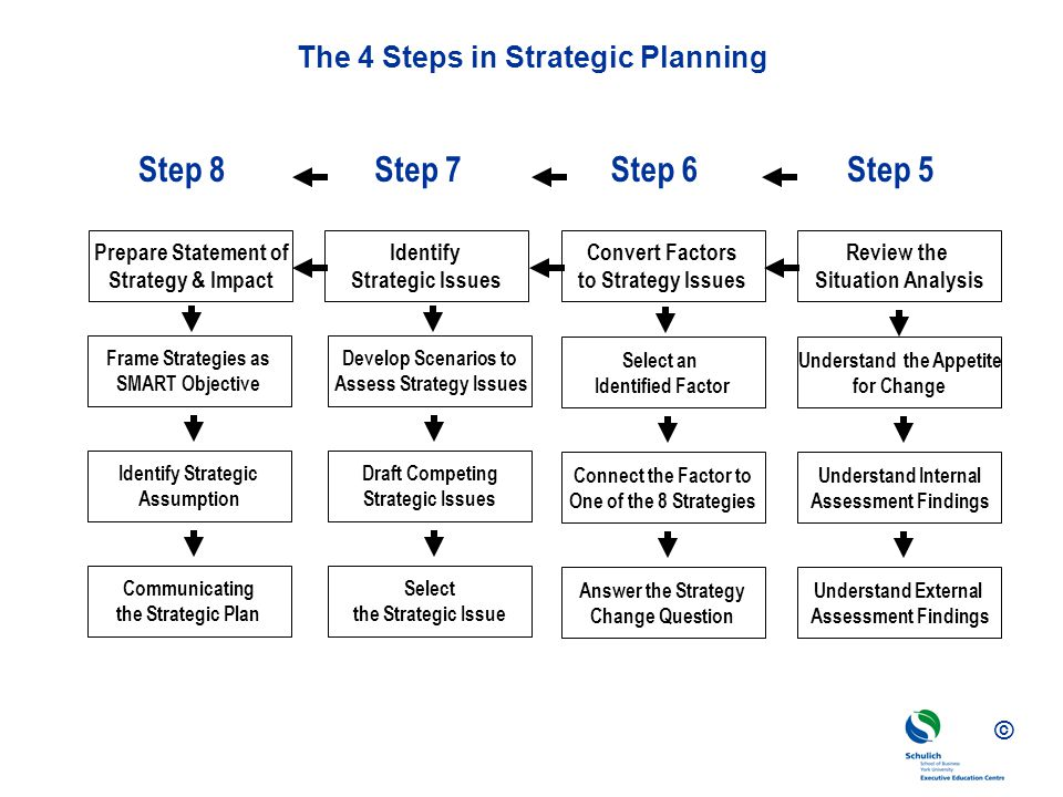 © The 4 Steps in Strategic Planning Step 8Step 7Step 6Step 5 Prepare Statement of Strategy & Impact Identify Strategic Issues Convert Factors to Strategy Issues Review the Situation Analysis Develop Scenarios to Assess Strategy Issues Select the Strategic Issue Draft Competing Strategic Issues Frame Strategies as SMART Objective Communicating the Strategic Plan Identify Strategic Assumption Understand the Appetite for Change Understand External Assessment Findings Understand Internal Assessment Findings Select an Identified Factor Answer the Strategy Change Question Connect the Factor to One of the 8 Strategies