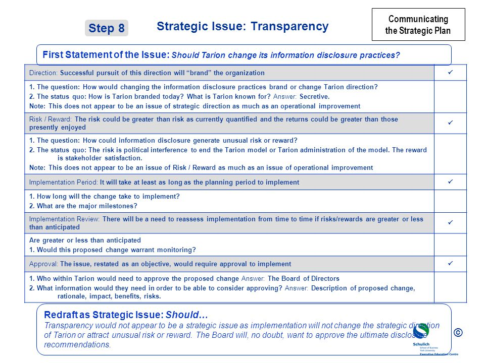 © Strategic Issue: Transparency Direction: Successful pursuit of this direction will brand the organization 1.