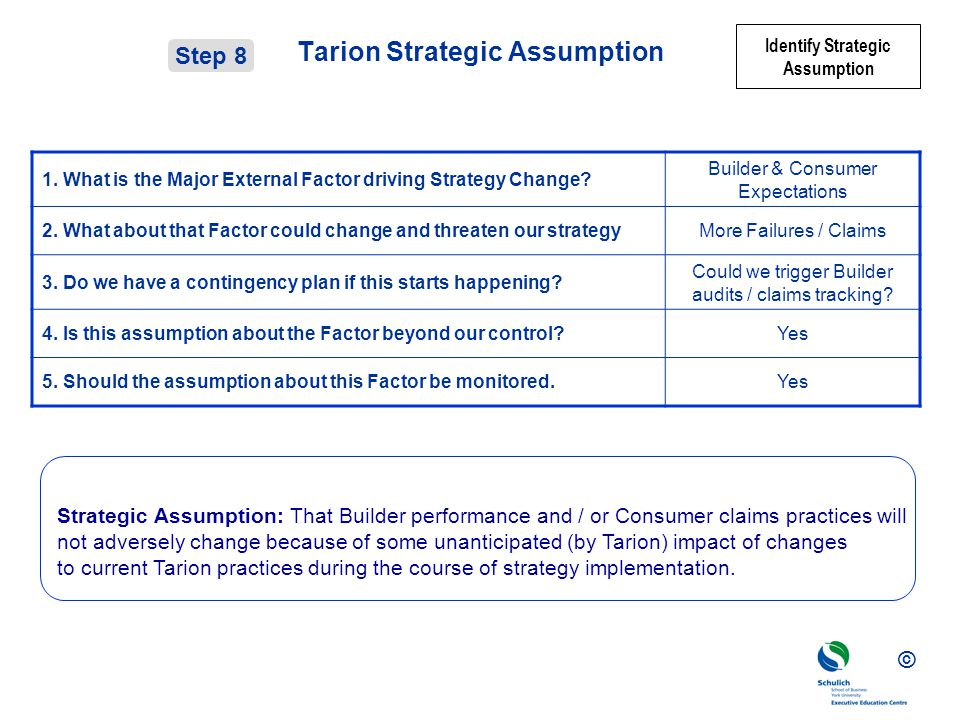© Tarion Strategic Assumption 1.What is the Major External Factor driving Strategy Change.