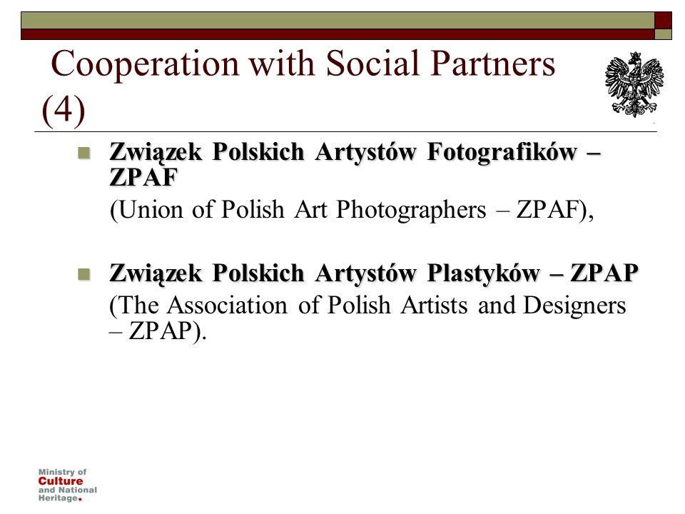 Cooperation with Social Partners (4) Związek Polskich Artystów Fotografików – ZPAF Związek Polskich Artystów Fotografików – ZPAF (Union of Polish Art Photographers – ZPAF), Związek Polskich Artystów Plastyków – ZPAP Związek Polskich Artystów Plastyków – ZPAP (The Association of Polish Artists and Designers – ZPAP).