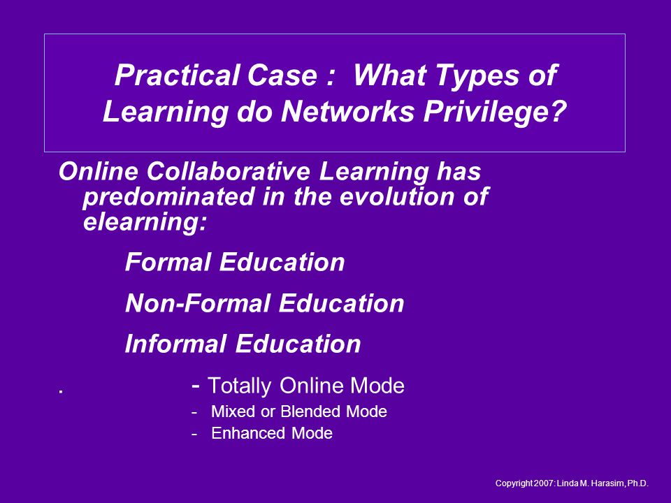 Online Collaborative Learning has predominated in the evolution of elearning: Formal Education Non-Formal Education Informal Education.