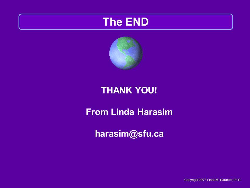 THANK YOU! From Linda Harasim harasim@sfu.ca The END Copyright 2007: Linda M. Harasim, Ph.D.