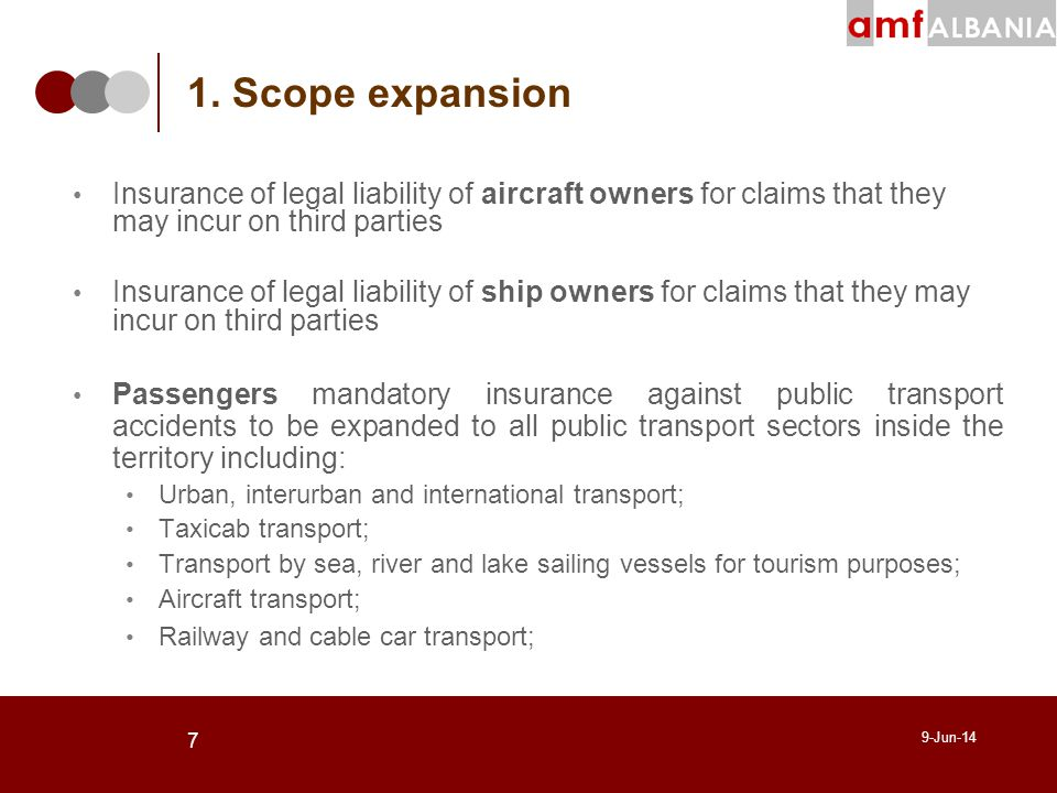 7 9-Jun-14 Insurance of legal liability of aircraft owners for claims that they may incur on third parties Insurance of legal liability of ship owners for claims that they may incur on third parties Passengers mandatory insurance against public transport accidents to be expanded to all public transport sectors inside the territory including: Urban, interurban and international transport; Taxicab transport; Transport by sea, river and lake sailing vessels for tourism purposes; Aircraft transport; Railway and cable car transport; 1.