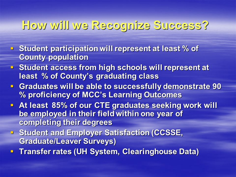 How will we Recognize Success? Student participation will represent at least % of County population Student participation will represent at least % of