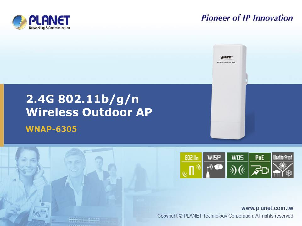 12 / 25 Product Features Hardware Design IP-65, Water-proof Enclosure -20~70 Degree C wide range of operating temperature Power over Ethernet design (with proprietary injector) RF interface IEEE 802.11b/g/n standards compliant High output power up to 600mW with multiple adjustable transmit power control Data rate up to 150Mbps with 802.11n mode Built-in 9dBi directional antenna Reserve SMA-type Connector allows for stronger antenna upgrades