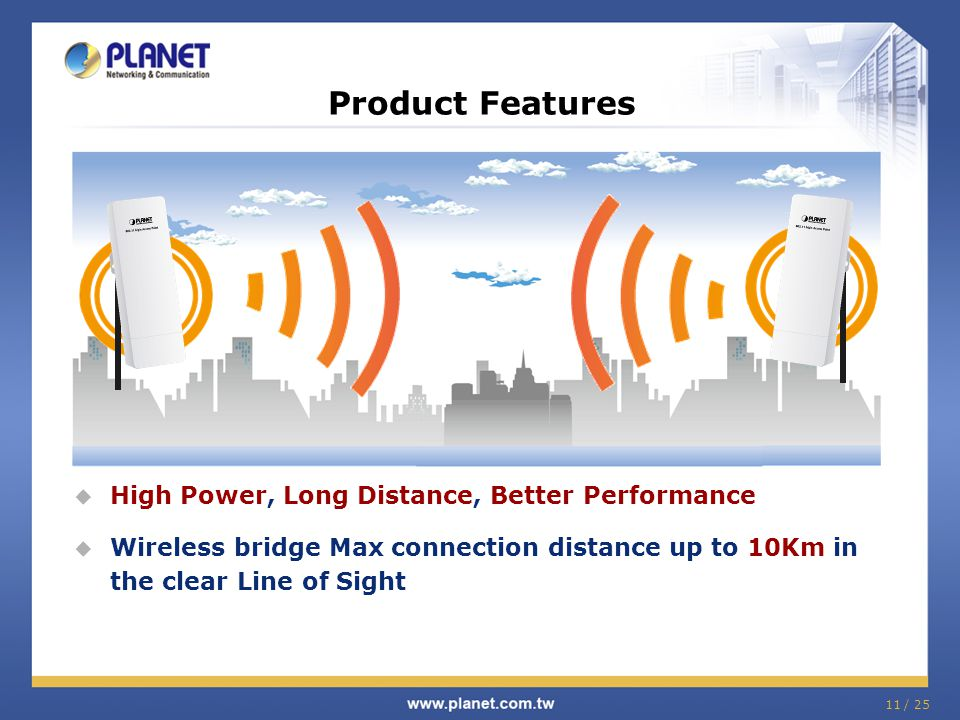 11 / 25 High Power, Long Distance, Better Performance Wireless bridge Max connection distance up to 10Km in the clear Line of Sight Product Features