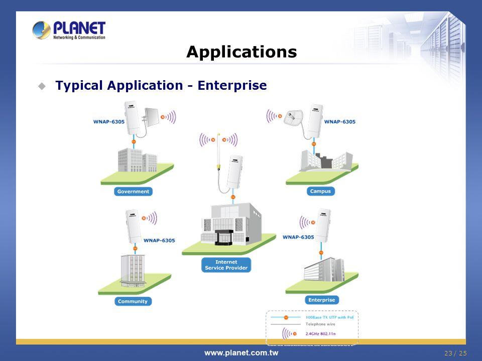 23 / 25 Applications Typical Application - Enterprise