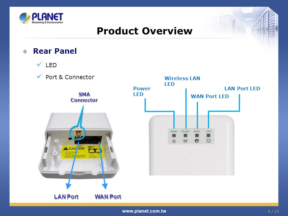 7 / 25 Product Overview Proprietary PoE interface Offer Power Supply (DC) with PoE (Power over Ethernet) injector Up to 100 meters UTP wiring Reset button on PoE To WNAP-6305 (UTP wired up to 100m) To LAN Switch or PC Power Adapter (12V, 1A) Power LED Reset Button To Factory Default