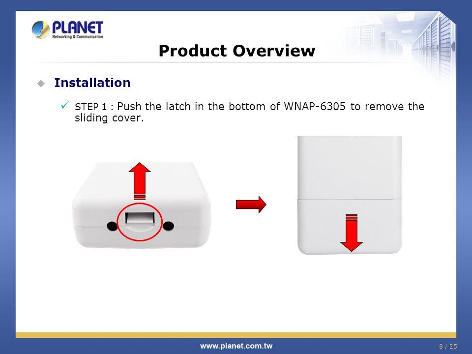 29 / 25 Comparison - Internal Model Features PLANET/WAP-6200PLANET/WNAP-6305PLANET/WNAP-6300 Flash/RAM 2MB/32MB4MB/16MB8MB/32MB Ethernet Port 2*10/100Mbps(LAN/WAN) 1*10/100Mbps PoE Passive Wireless Interface 802.11b/g802.11b/g/n Wireless Antenna Built-in 14dBi patch antenna H-plane: 30 degree E-plane: 30 degree Built-in 9dBi patch antenna H-plane: 60 degree V-plane: 30 degree Reserve SMA-type Connector *Switchable by web UI Built-in 8dBi patch antenna H-plane: 113 degree V-plane: 39 degree Reserve N-type Connector *Switchable by web UI Operating Temp.