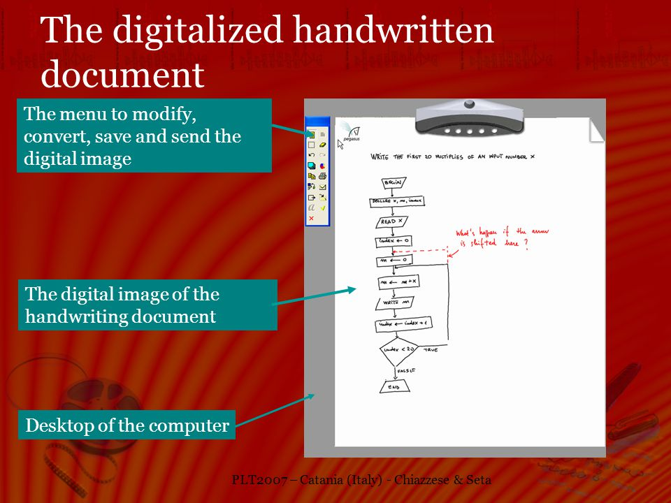 PLT2007 – Catania (Italy) - Chiazzese & Seta The digitalized handwritten document Desktop of the computer The digital image of the handwriting document The menu to modify, convert, save and send the digital image