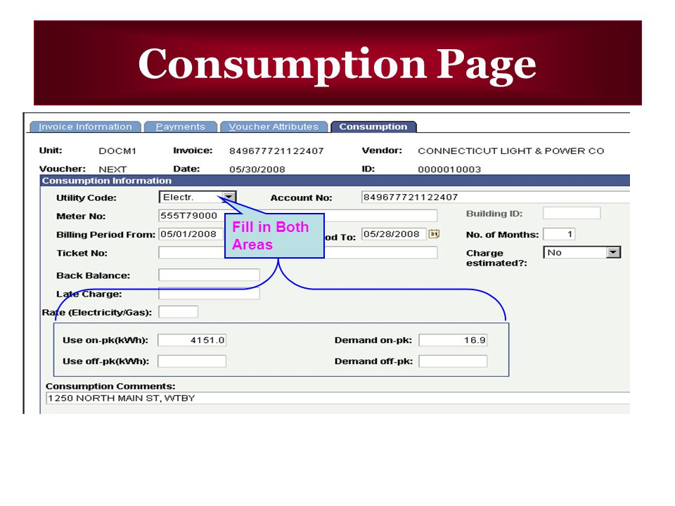 Consumption Page Fill in Both Areas