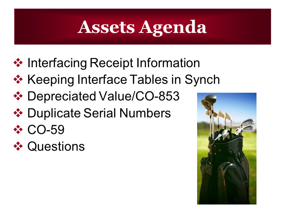 Assets Agenda Interfacing Receipt Information Keeping Interface Tables in Synch Depreciated Value/CO-853 Duplicate Serial Numbers CO-59 Questions